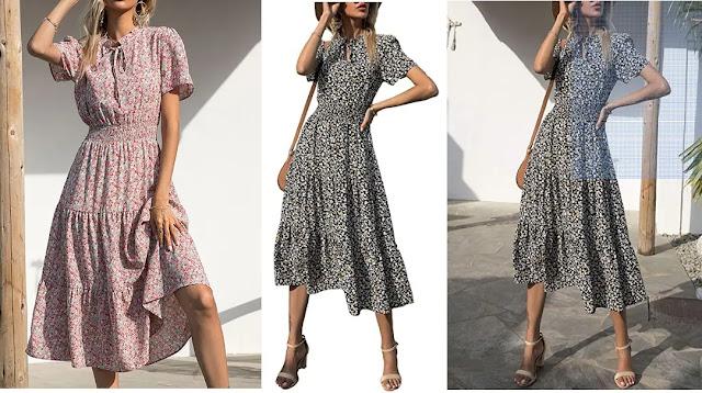 BTFBM Floral Vintage Elastic Dresses