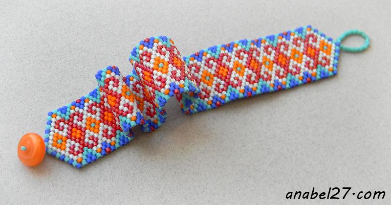 купить украшения ручной работы бисерный узкий браслет