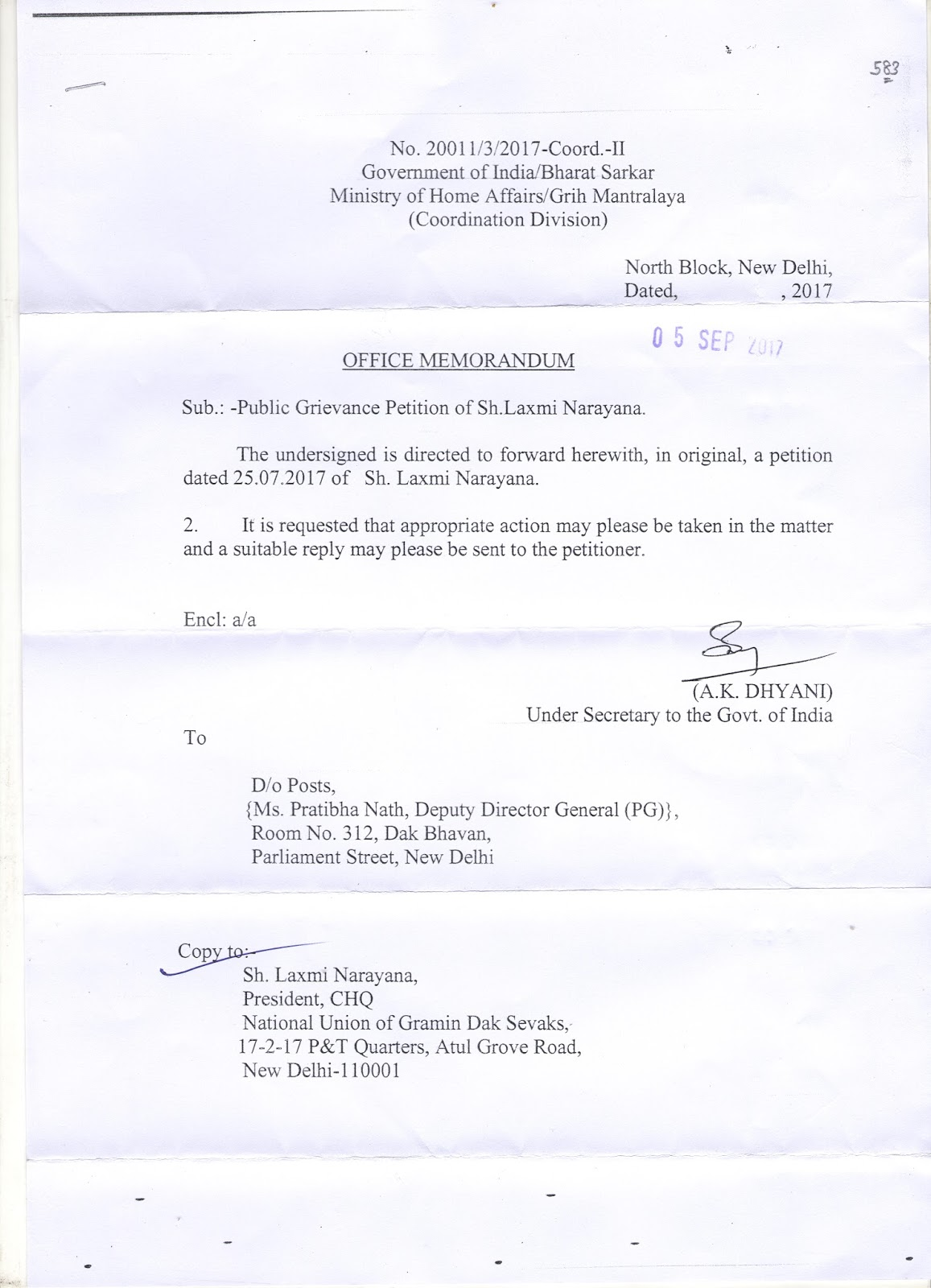 Under Secretary , Govt.of India , Ministry of Home Affairs Reply to ...