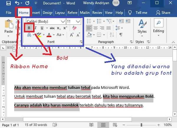 Membuat Tulisan atau Teks Bercetak Tebal di Microsoft Word dengan Bold