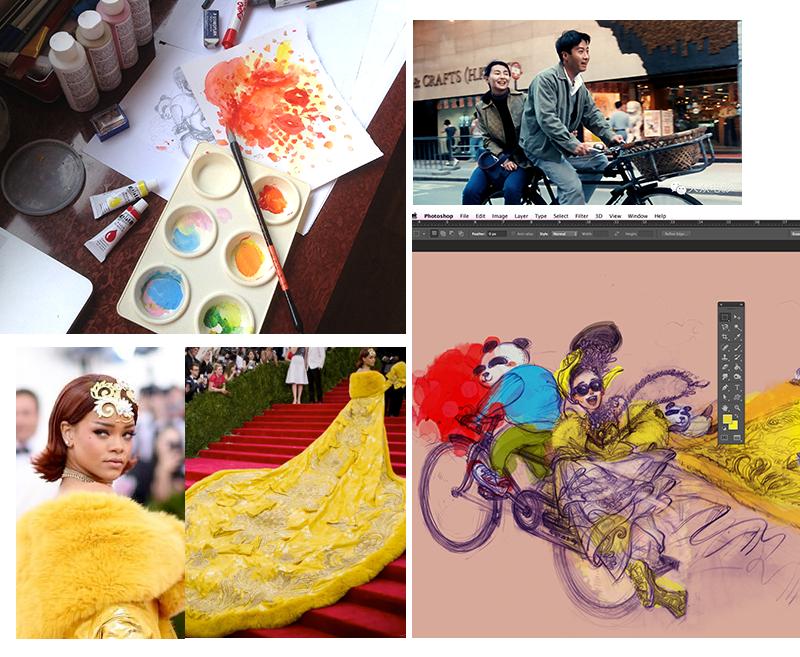 GuoPei for Rihanna MetGala gold gown, HauteCouture BehindTheScene, Tianmimi movie LeonLai_MaggieCheung, Fashion Illustration by Ben Liu
