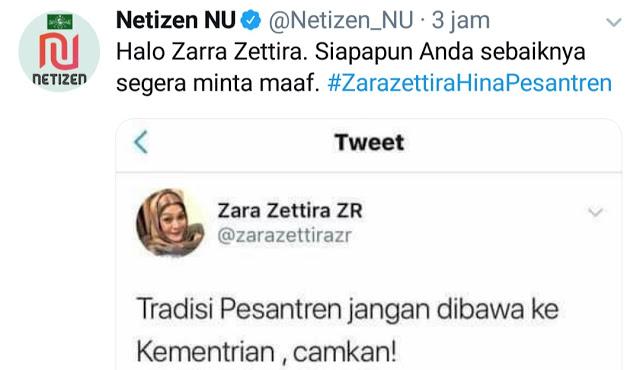 Bareskrim Diminta Usut Akun Zara Zettira yang Menistakan Pesantren