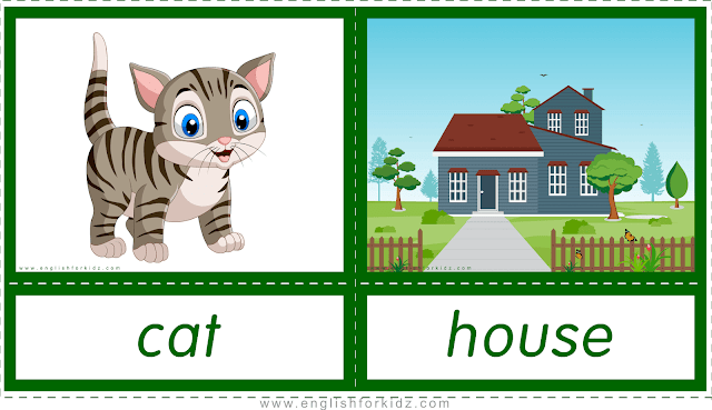 Animal homes and habitats -- cat - house -- printable flashcards for English learners