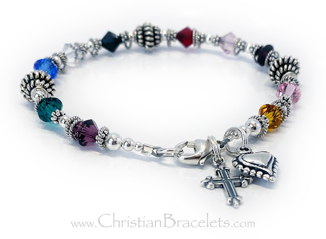 Psalm 23 Bracelet with a Fancy Cross and Beaded Heart Charm