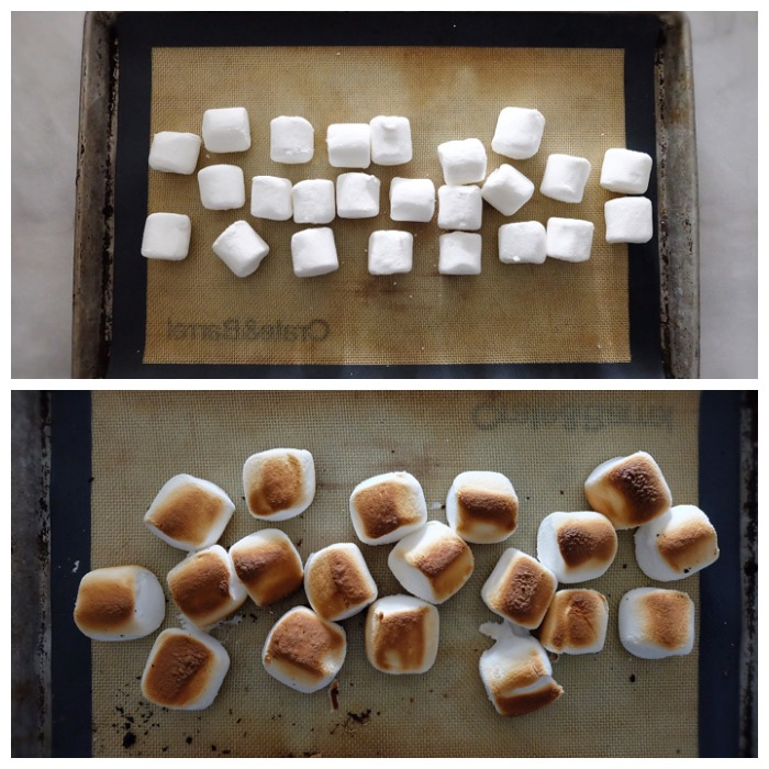 marshmallows before and after toasting