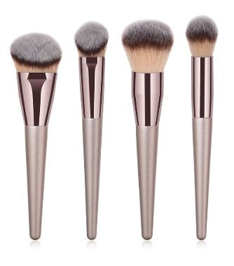 Set de 4 brochas especial para rostro en oro rosa y madera