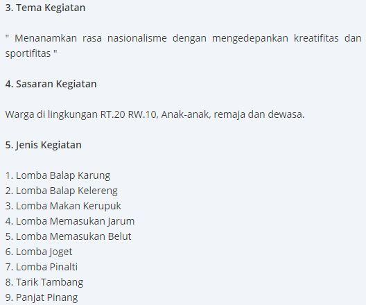 Contoh Proposal Kegiatan 17 Agustus Tahun 2018 Lengkap