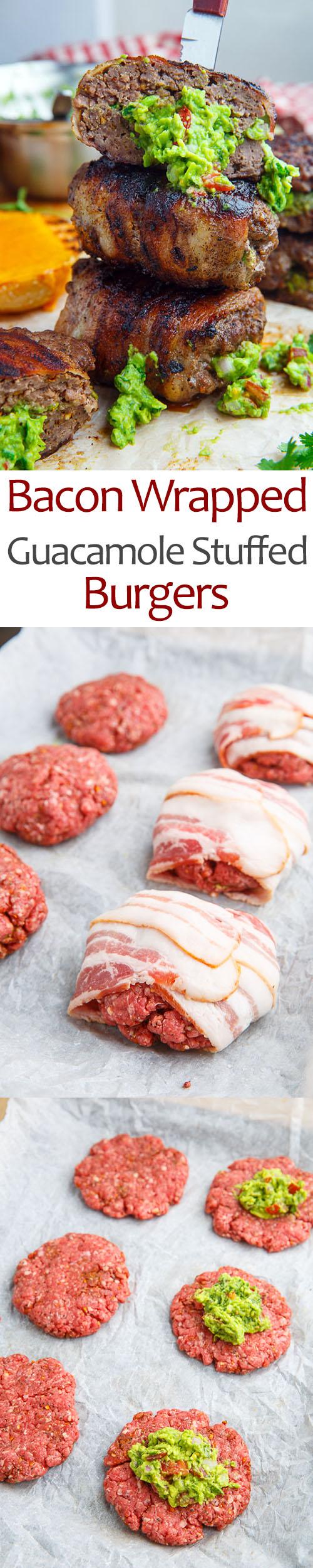 Bacon Wrapped Guacamole Stuffed Burgers
