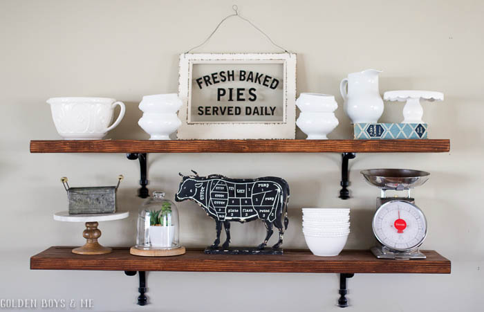 DIY wooden shelves with farmhouse style decor