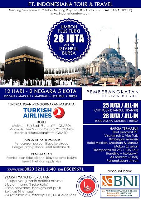 PAKET UMROH PLUS TURKI ISTANBUL + BURSA