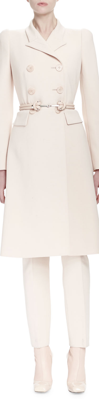 Alexander McQueen  Long-Sleeve Double-Breasted Coat, Nude