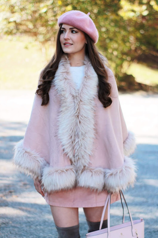 Faux Fur Cape + Pin Beret | Gossip Girl Vibes