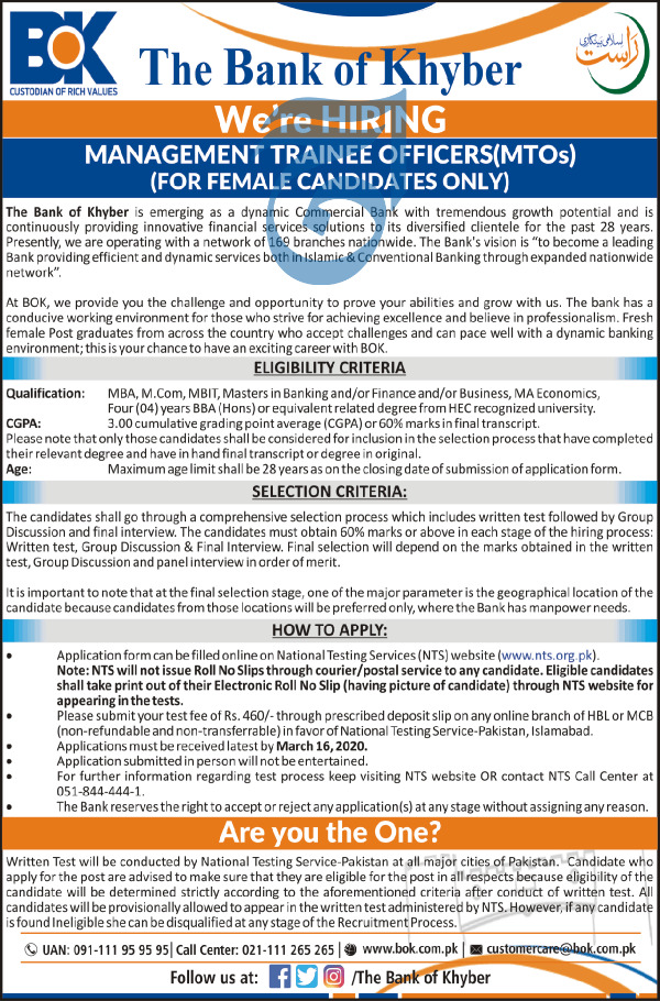 Jobs in The Bank of Khyber BOK Latest Advertisement 2020