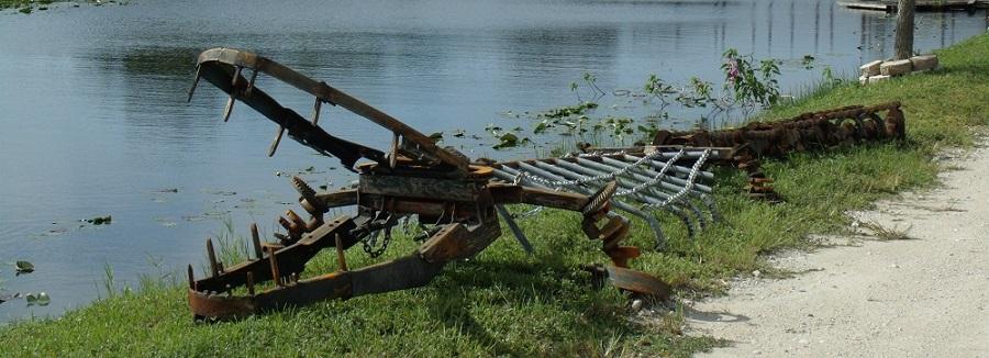Alligator de hierro en el campamento de pesca