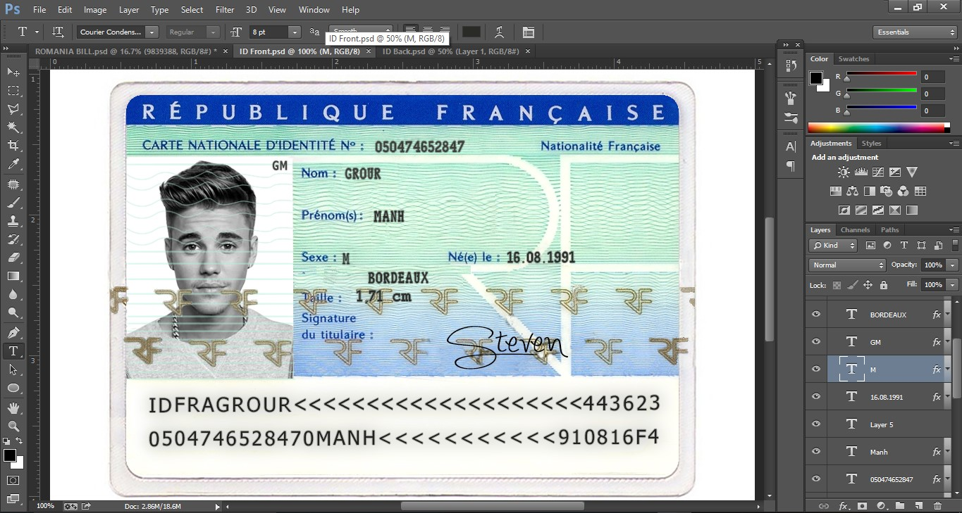 FRANCE ID CARD EDITABLE PSD TEMPLATE (Photoshop Template) - PSD ...