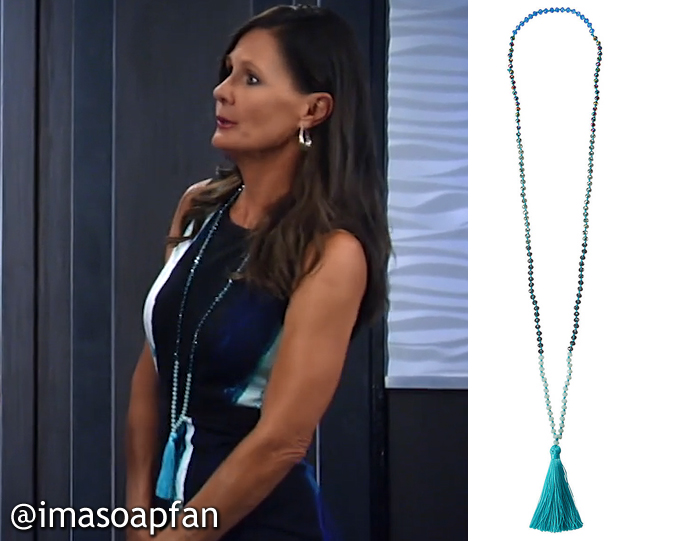 Lucy Coe's Blue Beaded Tassel Pendant Necklace - General Hospital, Season 54, Episode 08/22/16