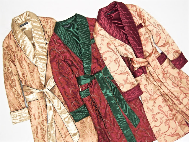 Men's silk dressing gown robe quilted paisley long warm gold red