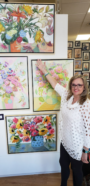 merrill weber and her floral paintings at visual expansion art gallery