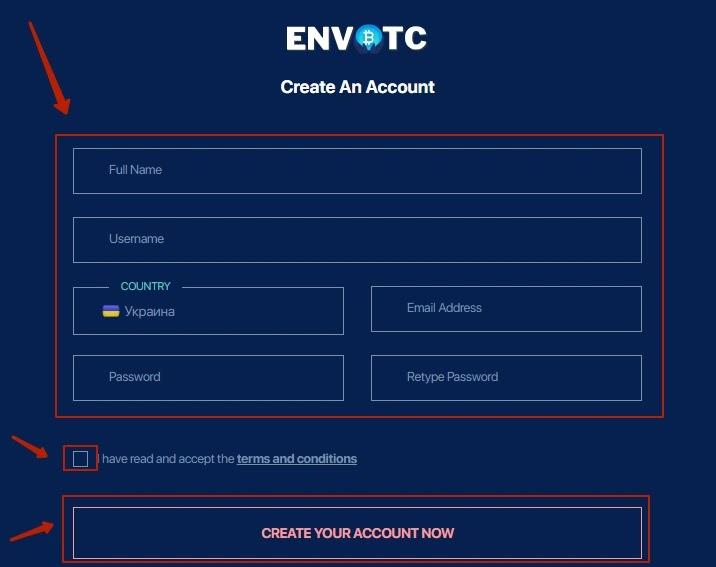 Регистрация в Envbtc 2