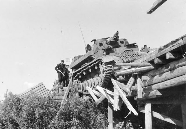 Panzer IV falling off a bridge 4 July 1941 worldwartwo.filminspector.com