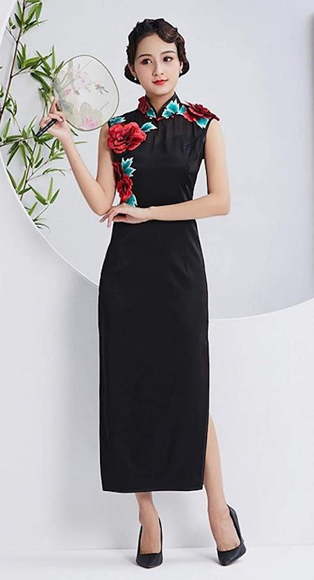 Black Cheongsam Qipao Dresses