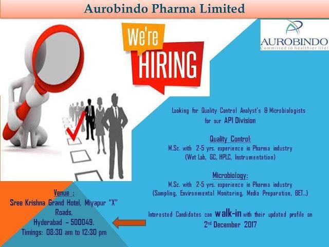 Aurobindo Pharma - Walk In Interview - 2 Dec. 2017 - Pharma Job Finder