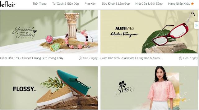 Giao diện web bán hàng giảm giá Leflair