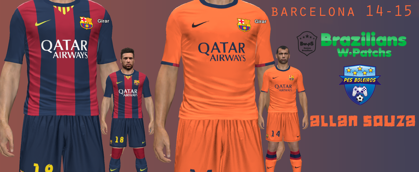 PES 2014 PC  Uniformes 2014 2015 Barcelona • Brazilians W-Patchs 80a9da1ddb24f