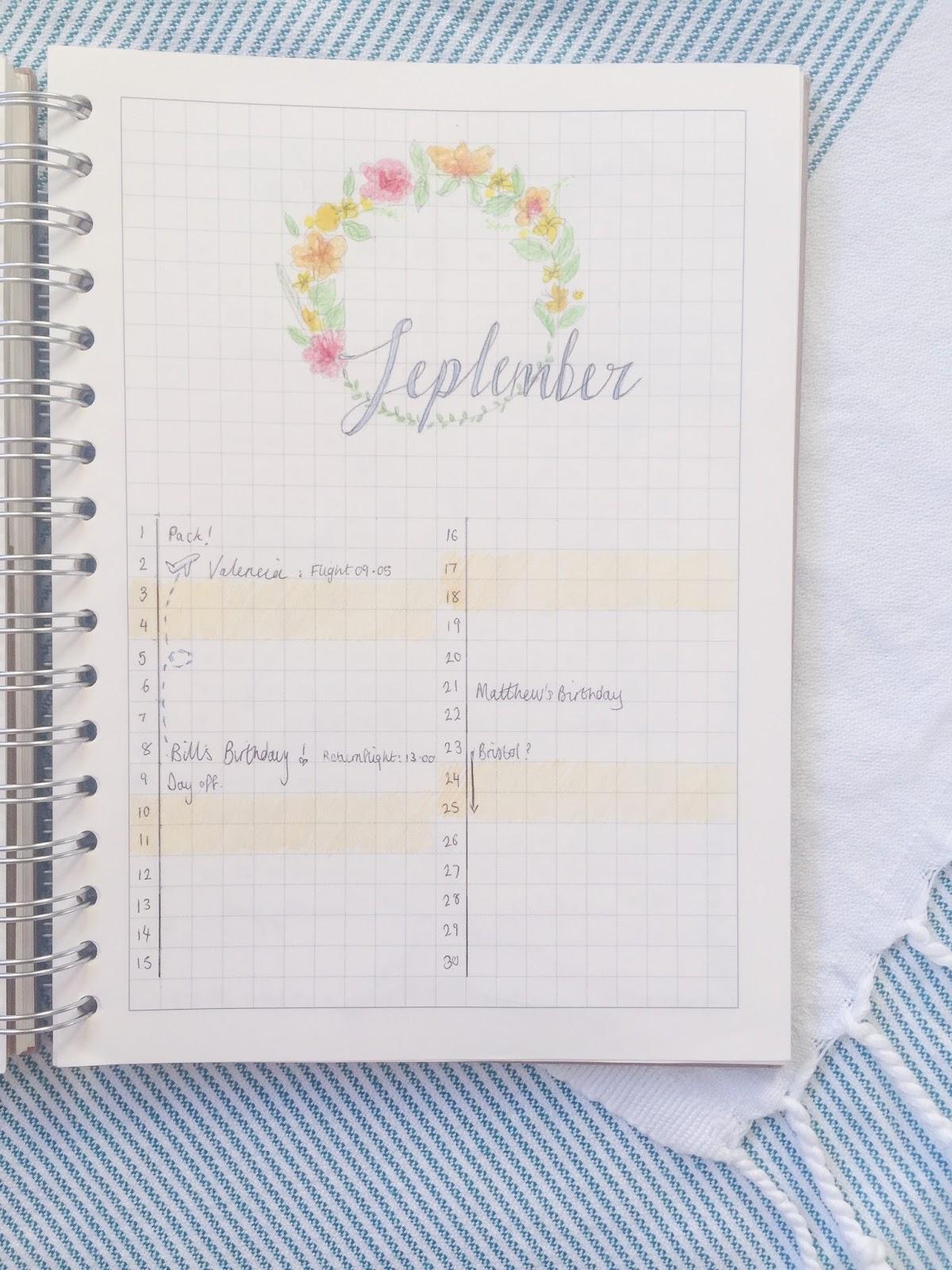 Calendar Journal Ideas : Bullet journal september setup it s sarah ann