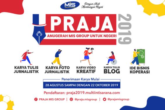 Lomba Karya Tulis, Fotografi, Video Kreatif, Blog, Ide Bisnis PRAJA 2019