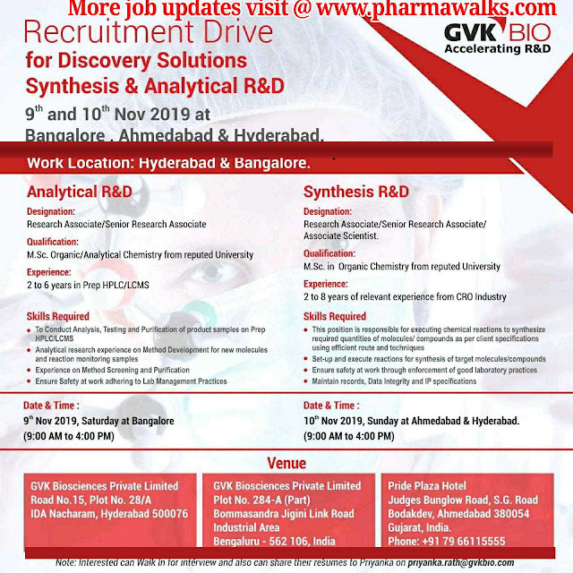 GVK Bio - Walk-in drive for multiple positions on 9th & 10th November, 2019