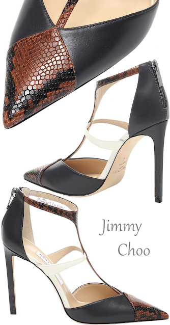 Jimmy Choo Saoni brown snake-print T-strap leather pumps #brilliantluxury