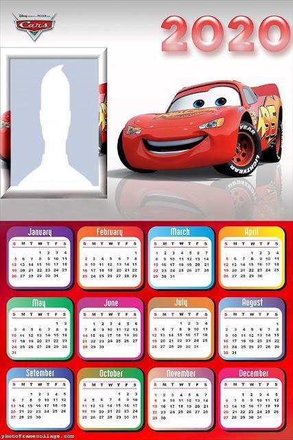Cars: Calendario 2020 para Imprimir Gratis.
