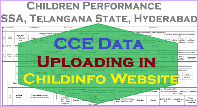 Children Performance, CCE Data Entry at ChildInfo CCE Website: Schooledu.Telangana.Gov.In by 31st October, 2019
