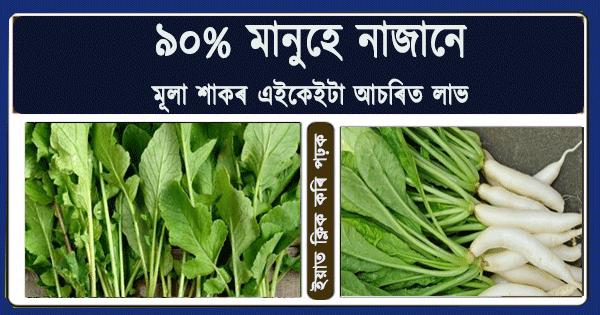 """আপুনি """"মূলা শাক""""ৰ এইকেইটা লাভালাভ জানি আচৰিত হ'ব ! Radish leaves benefits"""