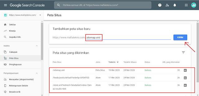 Cara Submit Sitemap Blog ke Google Webmaster Terbaru - Kirim