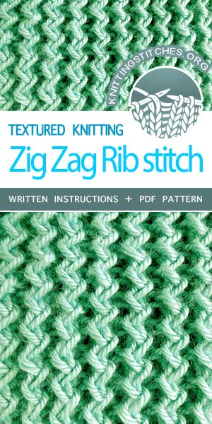 Knitting Stitches -- Free Knitting. Fun and easy! Knit Zig Zag Rib Stitch. #knittingstitches #knittingpatterns