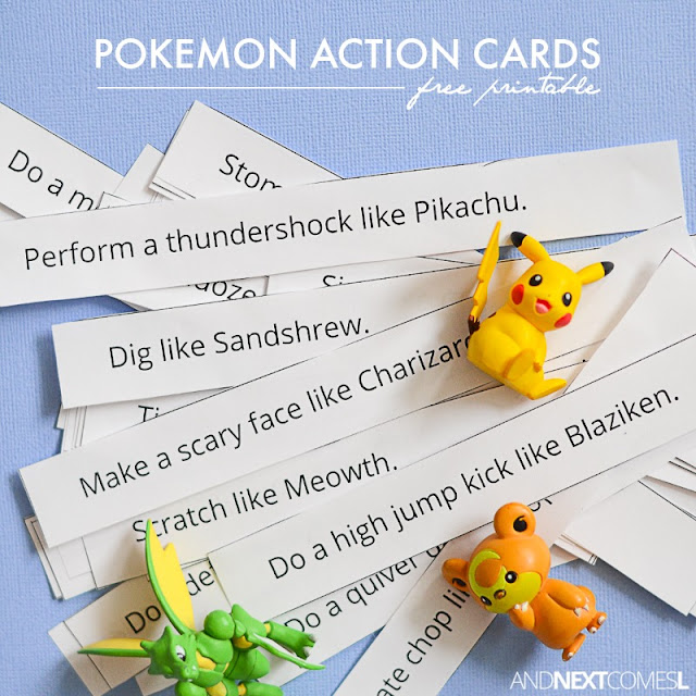 Free printable Pokemon action cards for kids - great boredom buster with lots of gross motor ideas from And Next Comes L