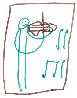 Nixklusionsmännchen mit Geige.
