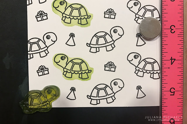 How to Create a Stamped Background Pattern and How to Stamp with the Back of your Clear Stamps tutorial by Juliana Michaels featuring Turtley Awesome stamp set by Sunny Studio Stamps