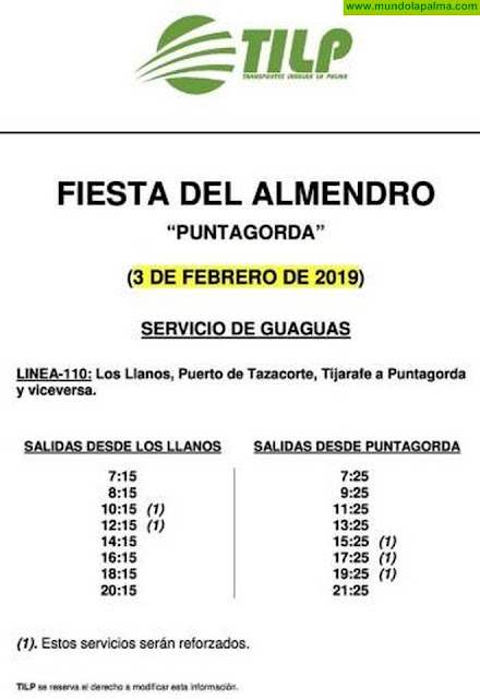 Horarios especiales de guagua Fiestas del Almendro Puntagorda 2019