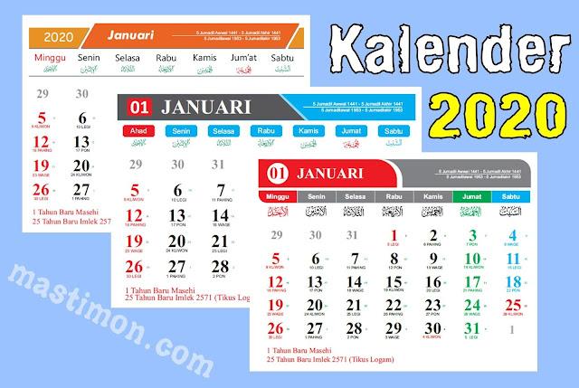 Kalender 2020 Lengkap Hijriyah dan jawa