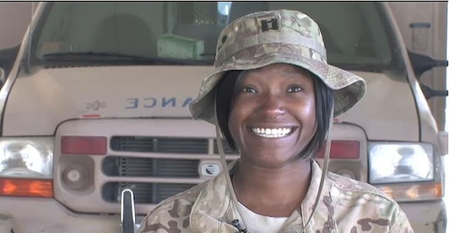 Now-Air Force Maj. Natasha Best, while deployed to Bagram Air Base. (Photo screen capture from video by 455th Air Expeditionary Wing Public Affairs)