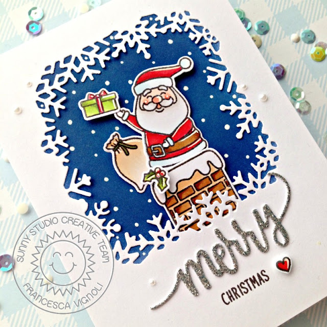 Sunny Studio Stamps: Snowflake Frame Dies Hogs & Kisses Santa Claus Lane Christmas Cards by Franci Vignoli