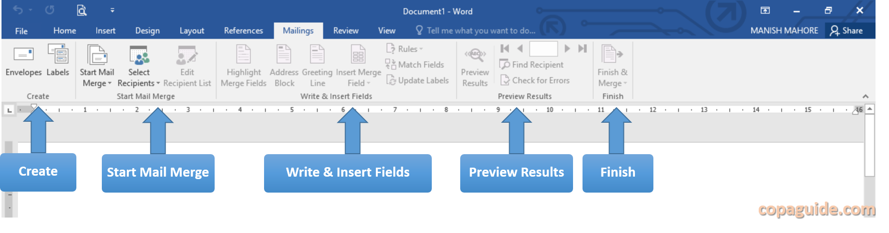 MS Word Mailing Tab Commands