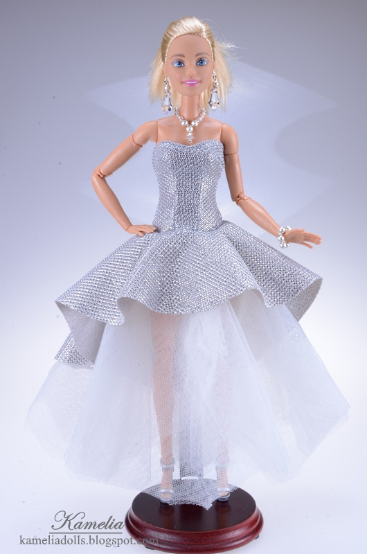 White and silver evening dress for Barbie dolls.