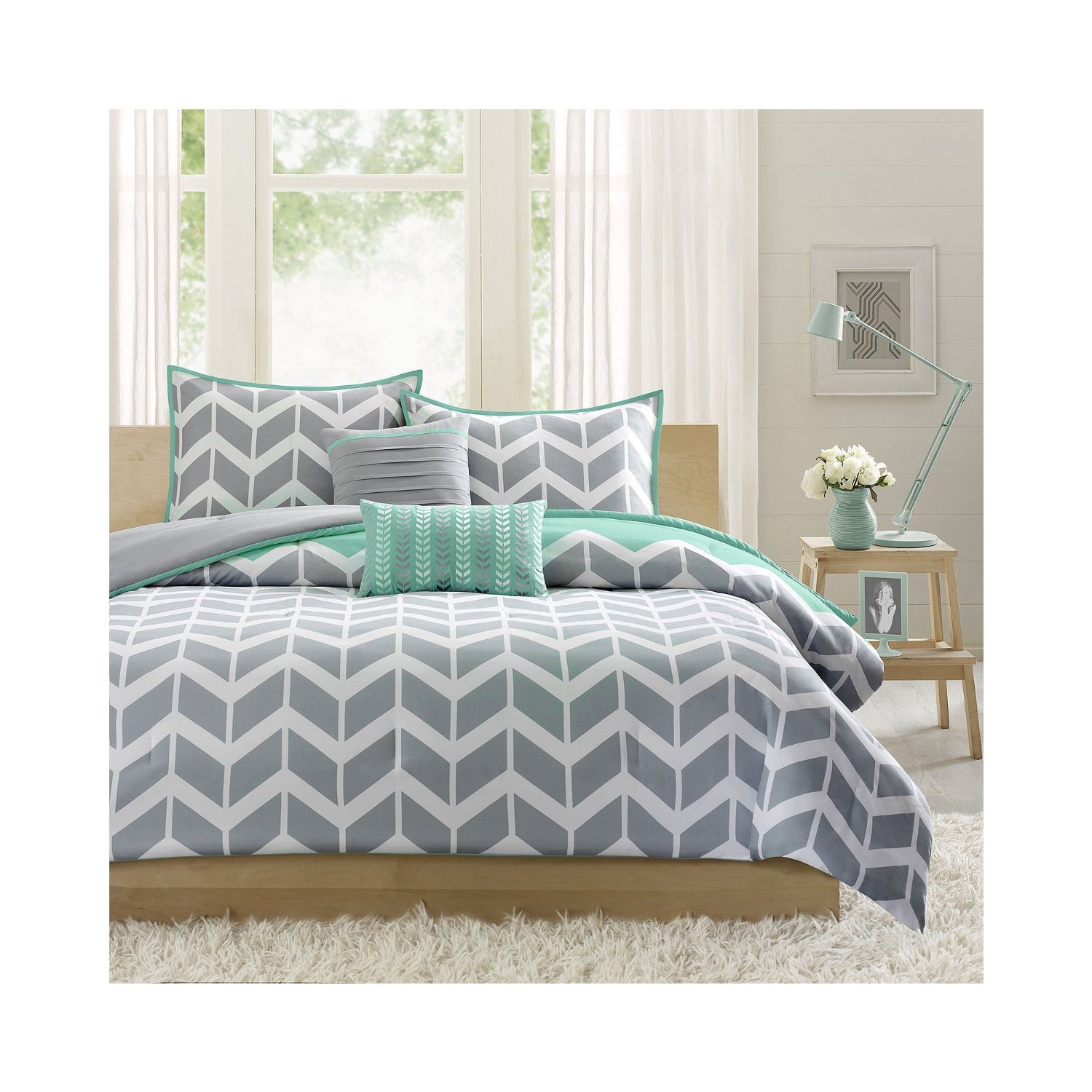 bedding size set pce and king twin queen comforter white grey chevron cal