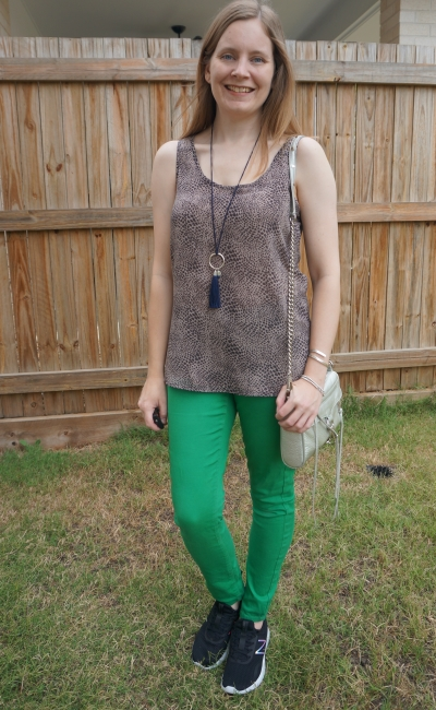 animal print tank with green skinny jeans and sneakers, rebecca minkoff mini mac bag spring outfit | away from blue