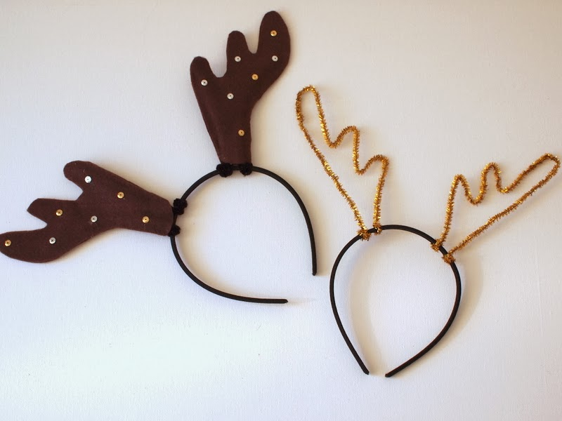 Christmas Headband Craft.Diy Reindeer Antler Headbands Pink Stripey Socks