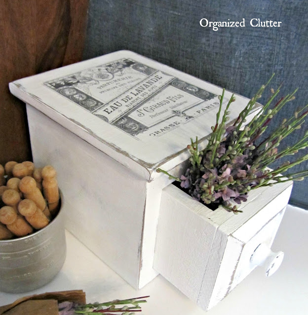 Photo of upcycled drawer with lavender and an image transfer top